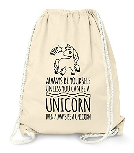 MoonWorks Turnbeutel Einhorn - Always be Yourself Unless You can be a Unicorn - Spruch Gymbag Natur Unisize