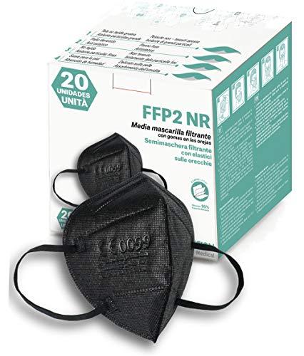 Innovision Medical 20 x Mascarilla Negra FFP2 CE0099, Pack 20 Unidades Homologada Negro