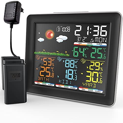 BILIPALA Wetterstation mit 3 Außensensor Funk, Digital Farbdisplay DCF-Funkuhr Innen und Außen Thermometer Hygrometer, Funkwetterstation mit Wettervorhersage, Barometer und Komfort-Status-Anzeige