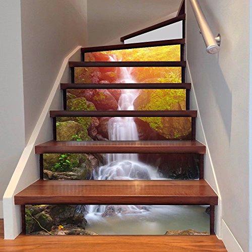 Frolahouse - Adhesivo decorativo para escaleras en 3D, diseño de cascada y bosque, para renovación de escaleras, azulejos, vinilo, impermeables, 6 unidades