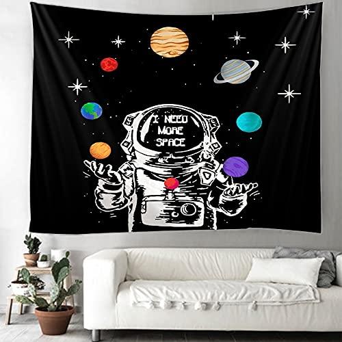 KHKJ Tapiz de Astronauta y arcoíris Mandala brujería Hippie Tapiz de macramé decoración Boho Tapiz Colgante de Pared A2 200x150cm