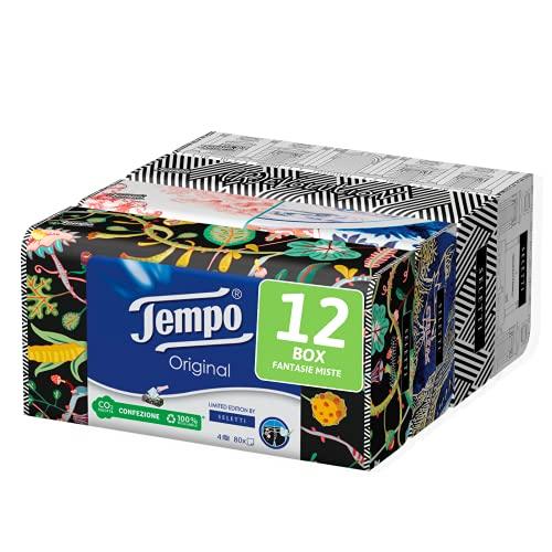 Tempo Box mit Papiertaschentüchern, 12 Boxen mit 80 Einweg-Taschentüchern, 4 Lagen, Box Limited Edition, signiert, 4 verschiedene Grafiken, recycelbare Packung aus natürlichen Herkunften.