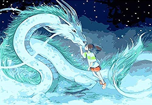 KaiWenLi Chihiro Patrón Serie/Ogino Chihiro Y Pequeño Dragón Blanco/Pintura Animación Diamante/DIY Hecho a Mano Creación / 5D Pintura Regalo Creativo/for decoración de la Pared / 65x45cm