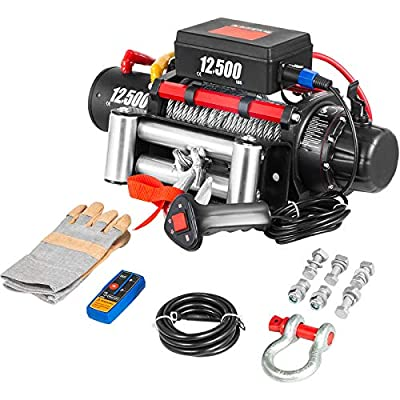 VEVOR Electric Winch 12500lb Load Capacity Truck Winch Compatible with Jeep Truck SUV 85ft/26m Cable Steel 12V Power Winch with Wireless Remote Control, Powerful Motor for ATV UTV Off Road Trailer