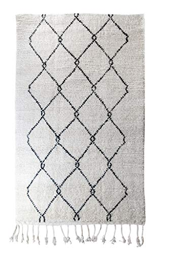 Poufs&Pillows Berber-tapijt van wol, handgeweven, 2,5 x 1,5 m, Marokkaans tapijt, crèmekleurig, klassiek, modern en modern, oosters tapijt