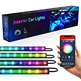 Dreamcolor Interior Car Lights, Music Sync Automotive LED Strip Lights with Remote for Car Two-Line Waterproof 4pcs 72 LED Lighting Kits APP Control Under Dash Vehicle Lights with Car Charger, DC 12V