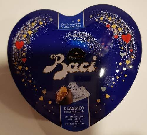 scatola cuore blu di latta con Baci Perugina 50 gr senza glutine San Valentino regalo amore
