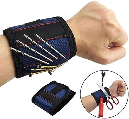 Tragbare Magnetische Armband, Elektriker Schrauben Halter Reparatur Handgelenk Werkzeuge Tasche für Holding Schrauben, Nägel, Bohrer, DIY Handwerker (Blue)