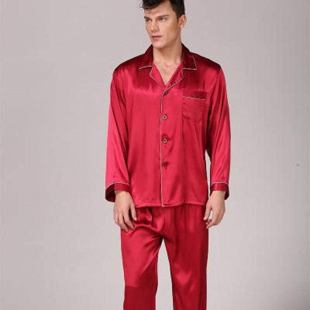 STJDM Nightgown,Men Stain Pajama Set Long Sleeve Silky Sleepwear Male Modern Style Nightwear Soft Cozy Nightgown Clothing XXL Red