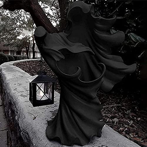 Hell's Messenger con Linterna, Decoración De Linterna De Resina De Bruja, El Fantasma En Busca De Luz, Escultura De Fantasma para Decoración De Halloween (Color : Negro)