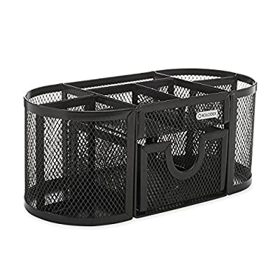"Rolodex Mesh Pencil Cup Organizer, Four Compartments, Steel, 9 1/3""x4 1/2""x4"", Black (1746466)"