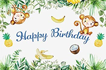 YEELE 7x5ft Happy Birthday Backdrop Cute Monkeys Kids Birthday Party Photography Background Safari Jungle Leaves Birthday Baby Shower Decoration Photos Artistic Portrait Photobooth Props