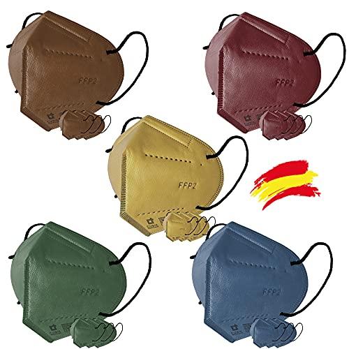 Cubik, Mascarilla FFP2 pack 4 amarilla 4 azul 4 marrón 4 verde 4 burdeos, Fabricación 100% Española, Alta eficiencia 5 capas, talla única, Homologada CE 0161, EN 149: 2001+A1:2009