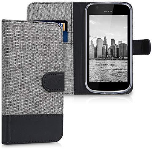 kwmobile Nokia 1 Custodia Portafoglio - Cover Porta Carte Tessuto Simil Pelle Stand per Nokia 1 - Case Magnetica