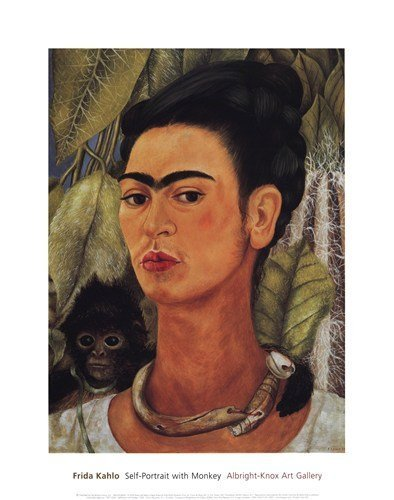 (16x20) Frida Kahlo Self-Portrait with Monkey 1938 Art Print Poster by Poster Revolution