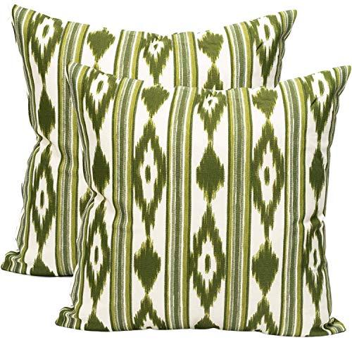 TRESMESTRES Fundas de Cojines 55 x 55 - Decoración Ikat - Decorativos para Sofá o Almohadas/Almohadones para Cama - Grandes - Diseño Mediterráneo - Funda Cojín 55x55 cm, 2 Pack, Verde