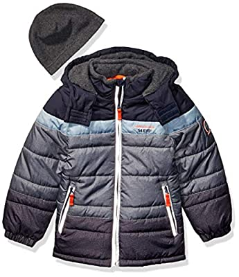 London Fog Boys' Little Color Blocked Puffer Jacket Coat with Hat,Navy Stripes Solid,5/6