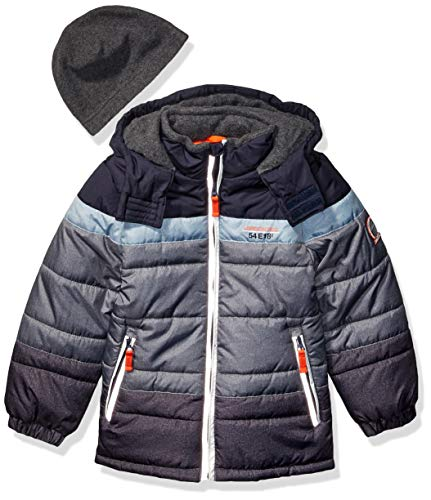 London Fog Boys' Little Color Blocked Puffer Jacket Coat with Hat,Navy stripes solid,7