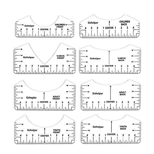 Amusingholiday Guia de régua de camiseta com 8 peças, ferramenta de alinhamento de camiseta com ferramenta de alinhamento com decote em V para desenhar roupas na parte de trás e na frente, ferramenta de guia de design para crianças jovens e adultos