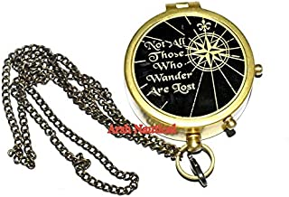 Arsh Nautical Solid Brass Compass J. R. R. Tolkien Quote Black Finish Free Keyring A