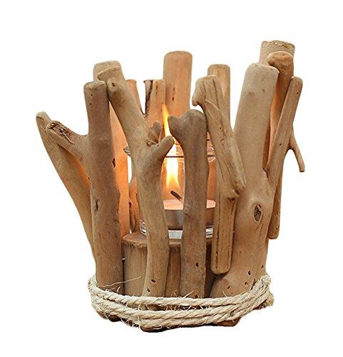 Icegrey Handgefertigt Treibholz Kerzenständer Dekorative Holz AST Vertikal Tisch Stehend Kerzenleuchter Kerzenständer 14x14x14cm