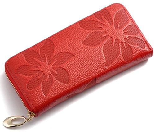 Brilliance Co Lungo Portafogli Floreale in Pelle Donna (Rosso)