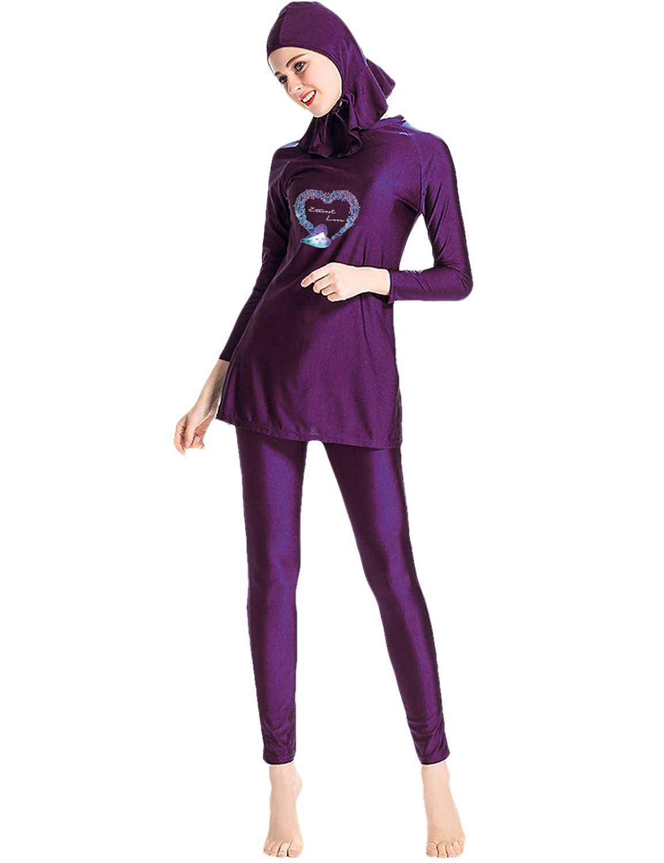 保守的な水着 女性 イスラム教徒 水着 薄手 軽量 フルカバー 添付 キャップ アラブ ヒジャーブ 抗菌性 太陽保護 Muslim Islamic Swimwear Swimsuit besbomig