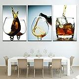 YXWLKG 3 peintures sur Toile 3 Panneaux Moderne Art Prints Estampes en Verre De Vin en Toile Mur Art Peinture Moderne Maison Cuisine Peinture À l'huile sur Toile Affiche