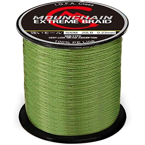 Mounchain 100% PE 500M 4 Strands Braided Fishing Line, Sensitive Braided Lines, Super Performance and Cost-Effective, Abrasion Resistant - 40LB, Green