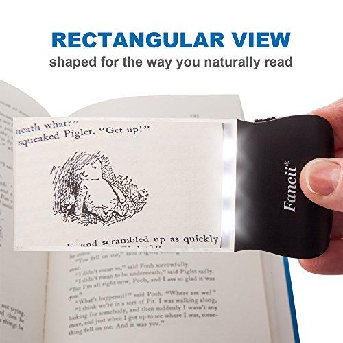 Fancii LED 2X großes rechteckiges Leselupe Handlupe mit Licht – 102 x 58 mm randlose unverzerrte Lupe mit Beleuchtung geeignet für Senioren, zum lesen von Büchern, Magazinen, Zeitungen und Landkarten - 3