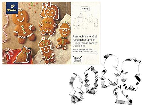 TCM Tchibo Ausstechform 5 tlg Weihnachten Ausstecher Lebkuchenfamilie Set