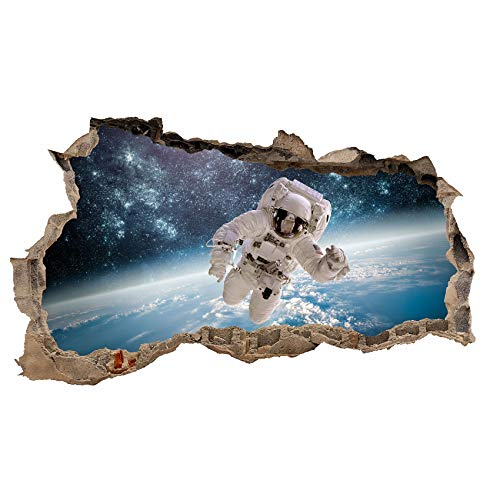 3D Wandtattoo Mauerloch Wandsticker Wandaufkleber Durchbruch Städte Landschaft selbstklebend H 60 x B 100 Schlafzimmer Wohnzimmer (WL09 Astronaut)