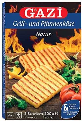 Gazi Grill- und Pfannenkäse Natur - 10x 200gramm - Pfanne Grill Grillkäse Ofen Ofenkäse Backkäse 45% Fett i. Tr. Schnittkäse Käse mikrobielles Lab Halal vegetarisch glutenfrei für Grill und Pfanne