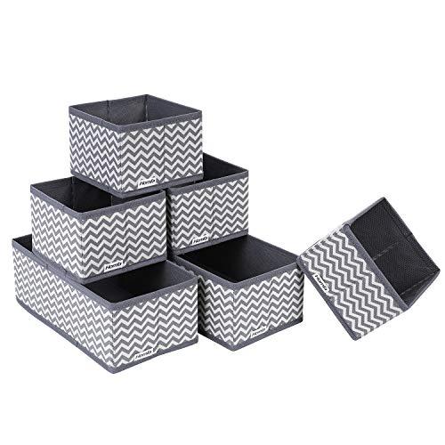 Homfa 6 Stück Aufbewahrungsbox Ordnungsbox Faltbox Stoff faltbar für Schubladen Grau Weiß Set