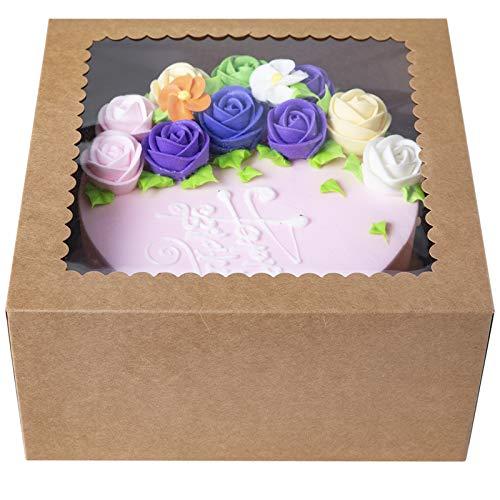 [15 Stks]Bruine bakkerij Cake Boxes10 X 10 X 5inch,Kraft Paperboard Bakkerij Doos met Auto-Popup Venster (Pack van 15)