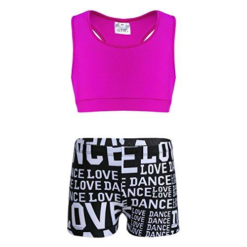 iEFiEL Tuta Sportiva Bambina Vestiti da Ballo Balletto Body Ginnastica Completo Sportivo da Palestra Tennis Costume da Bagno Canotta + Pantaloncini Tankini Ragazza Rosa e Rosso 10-12 Anni