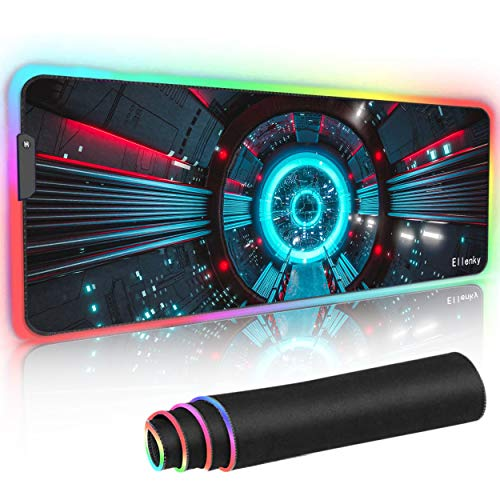 RGB Gaming Mouse Pad, Soft Oversized Glowing Extended LED Mousepad, Non-Slip Rubber Base Mouse Mat for Laptop Computer PC Games 31.5 x 11.8in