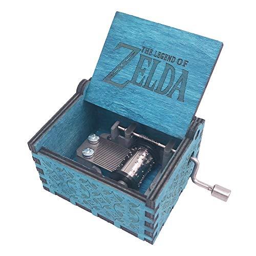 Caja musical de madera tallada con manivela de la leyenda de Zelda, tamaño mini, juego Zelda Song of Storms de Ocarina of Time, azul