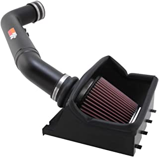 K&N Cold Air Intake Kit with Washable Air Filter:  2011-2016 Ford SuperDuty (F250, F350) 6.2L V8, Polished Black Finish with Red Oiled Filter, 77-2582KTK