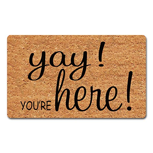 """FXGZHAO Welcome Mat with Rubber Back 30""""(L) x 18""""(W) Yay You're Here Funny Doormat for Entrance Way Personalized Mats for Front Door Mat No Slip Kitchen Rugs and Mats"""