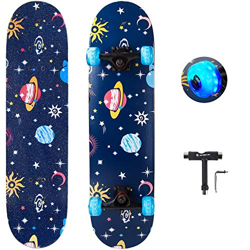 """METROLLER Skateboard, 31""""x 8"""" Complete Standard Skate Boards for Girls Boys Beginner, 7 Layer Canadian Maple Double Kick Concave Skateboards for Kids Youth Adult Teens"""