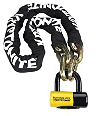 14mm six-sided chain links made of 3t HARDENED MANGANESE STEEL for ultimate strength Durable, protective nylon cover with hook-n-loop fasteners to hold in place Includes maximum security New York Disc Lock with 15mm MAX-PERFORMANCE STEEL SHACKLE Pate...