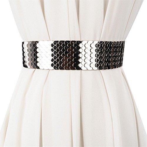 SAIBANGZI Fashion Taille Taille Lady Breite Gürtel Persönlichkeit Metallic Kleid Kleid Gürtel Elastic Gürtel Mädchen, Damen, Silberfarben, 70 cm