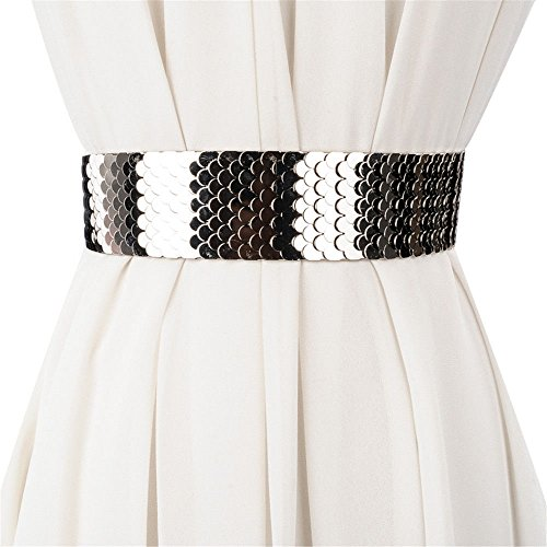 SAIBANGZI Fashion Taille Taille Lady Breite Gürtel Persönlichkeit Metallic Kleid Kleid Gürtel Elastic Gürtel Mädchen, Damen, Silberfarben,...