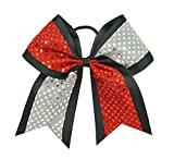 New'CONFETTI DOTS Red & Silver' Cheer Bow Pony Tail 3' Ribbon Girls Hair Cheerleading Dance Practice Football Games Competition Birthday