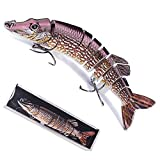 Fishing Lure for Bass Trout Albiscoo Multi Jointed Swimbaits Slow Sinking Addicted Fishing Gear Lifelike Soft Plastic Freshwater Saltwater Fishing Lures Kit Fishing Gifts for Men (ABS-YE-BR9)