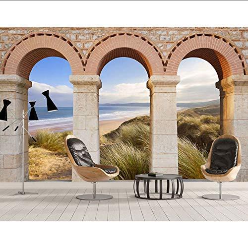 Guyuell Papiers Peints Muraux De L'Europe 3D Vintage Arches Mur De Briques Photo Papier Peint Mural 3 D Salon Chambre -350Cmx245Cm