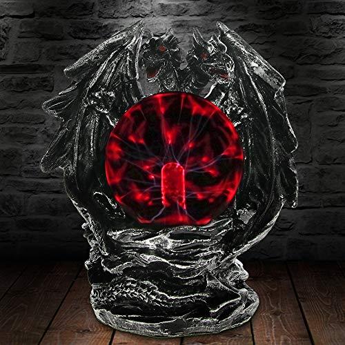 Gothic Drachen Plasma Ball Statue Mit Elektrische Glas Horror Beleuchtung Home Desk Art Decor Figurine Neuheit Lampe Licht