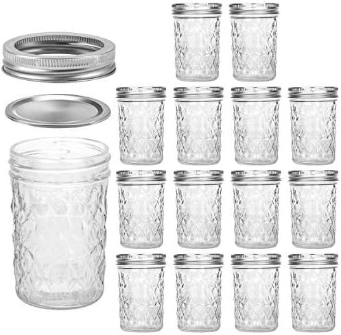Mason Jars 8 OZ, VERONES 8 OZ Canning Jars Jelly Jars With Regular Lids, Ideal for Jam, Honey, Wedding Favors, Shower Favors, Baby Foods, 15 PACK