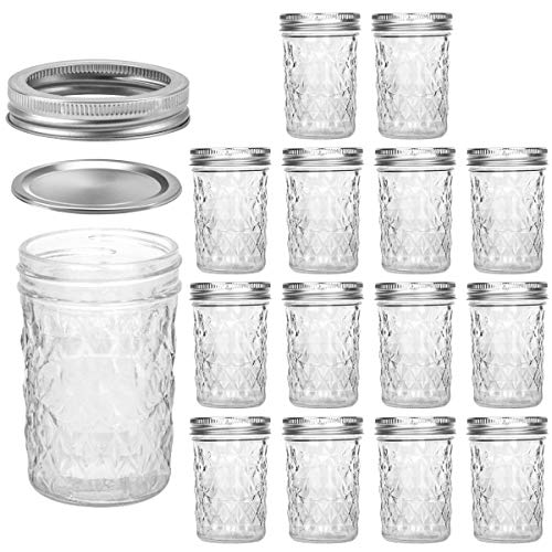 Mason Jars 8 OZ with Regular Lids, 15 PACK